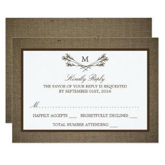 Country Rustic Monogram Branch & Burlap Wedding Card