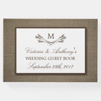 Country Rustic Monogram Branch & Burlap Wedding Guest Book