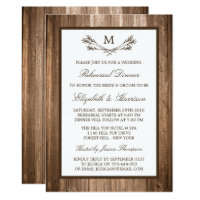 Country Rustic Monogram Branch Rehearsal Dinner Card