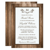Country Rustic Monogram Branch Wood Bridal Shower Card