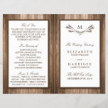"""Country Rustic Monogram Branch &amp; Wood Wedding<br><div class=""""desc"""">These bi-fold programs are perfect for any couple planning a rustic country marriage. The design features a monogram branch design on a rustic wood effect background. The simple design can be personalized to suit your special event and will be the perfect order of service for any country chic themed party,...</div>"""