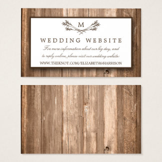 Country Rustic Monogram Branch & Wood Wedding Business Card