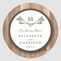 Country Rustic Monogram Branch & Wood Wedding Classic Round Sticker