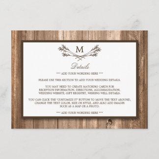 Country Rustic Monogram Branch & Wood Wedding Enclosure Card