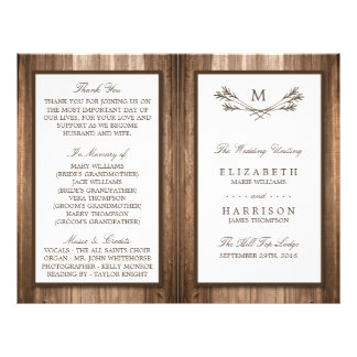 Country Rustic Monogram Branch & Wood Wedding Flyer