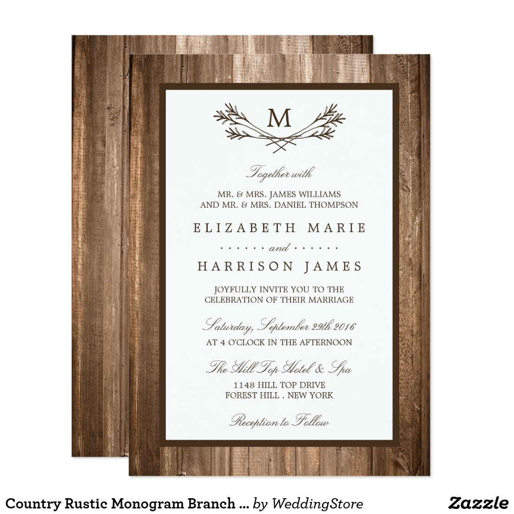 Country Rustic Monogram Branch & Wood Wedding Invitation