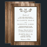 """Country Rustic Monogram Branch &amp; Wood Wedding Invitation<br><div class=""""desc"""">These invitations are perfect for any couple planning a rustic country marriage. The design features a monogram branch design on a rustic wood effect background. The simple design can be personalized to suit your special event and will be the perfect announcement for any country chic themed party, including; bridal showers,...</div>"""
