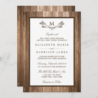 Country Rustic Monogram Branch & Wood Wedding Invitation