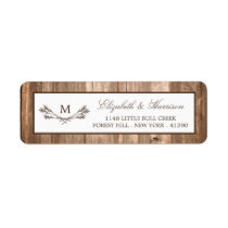 Country Rustic Monogram Branch & Wood Wedding Label