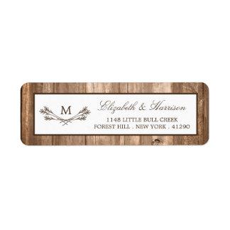 Country Rustic Monogram Branch & Wood Wedding Label