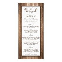 Country Rustic Monogram Branch & Wood Wedding Menu