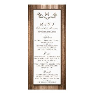 Country Rustic Monogram Branch & Wood Wedding Menu