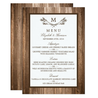 Country Rustic Monogram Branch & Wood Wedding Menu Card