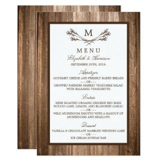 Country Rustic Monogram Branch & Wood Wedding Menu Card