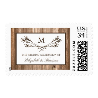 Country Rustic Monogram Branch & Wood Wedding Postage