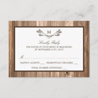 Country Rustic Monogram Branch & Wood Wedding RSVP