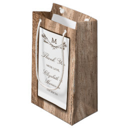 Country Rustic Monogram Branch & Wood Wedding Small Gift Bag