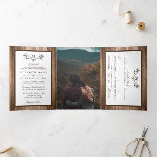 Country Rustic Monogram Branch & Wood Wedding Tri-Fold Invitation