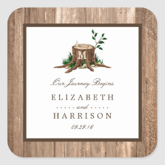 Country Rustic Monogram Tree & Wood Wedding Square Sticker
