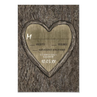 Country Rustic Oak Tree Bark Wedding RSVP Cards