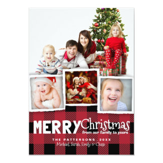 Country Rustic Plaid Merry Christmas Photo Card