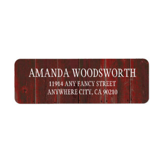 Country Rustic Red Barn Wood Wedding Labels