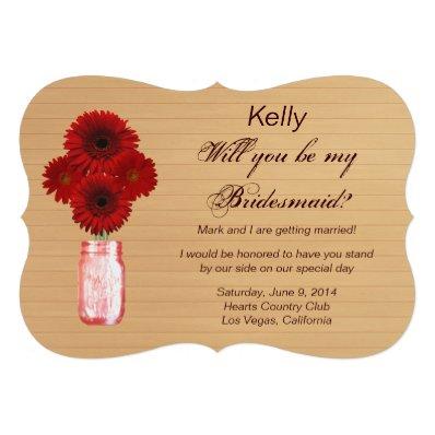Country Rustic Red Mason Jar Bridesmaid Card