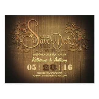 country rustic save the date postcard wooden