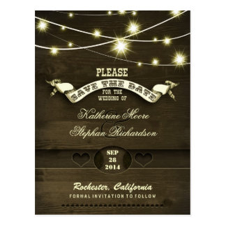 country rustic save the date with twinkle lights postcard