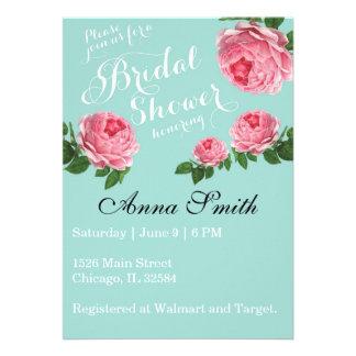 Country Rustic Shabby Chic Vintage Botanical Rose Custom Invitation