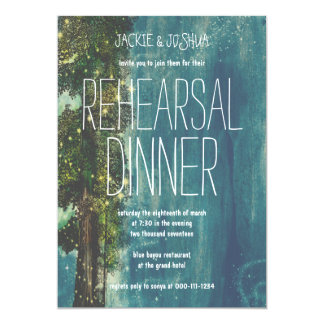 Country Rustic Starry Forest Rehearsal Dinner 5x7 Paper Invitation Card
