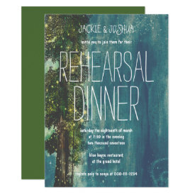 Country Rustic Starry Forest Rehearsal Dinner Card