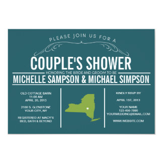 Country Rustic State Couple's Shower Card