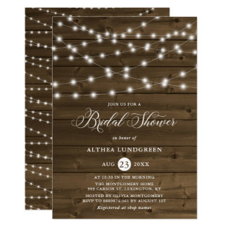 Country Rustic String Lights Wood Bridal Shower Invitation