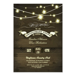 country rustic string lights wood engagement party card