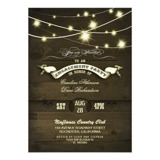 country rustic string lights wood engagement party cards