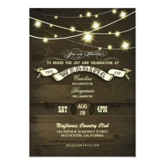 country rustic string lights wood wedding 5x7 paper invitation card
