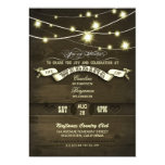 country rustic string lights wood wedding personalized invitations