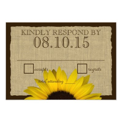 Country Rustic Sunflower and Burlap Reply Card