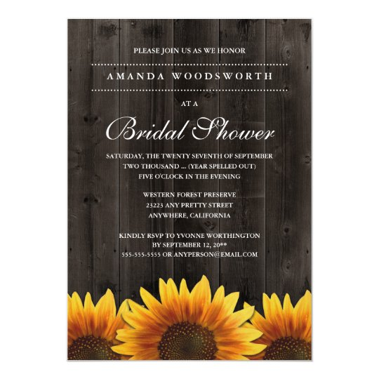 Country rustic sunflower bridal shower invitations zazzle country rustic sunflower bridal shower invitations filmwisefo