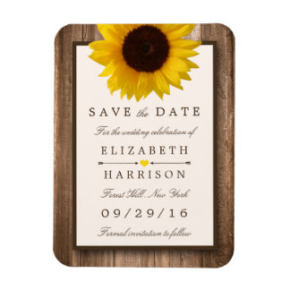 Sunflower Save The Date Refrigerator Magnets | Zazzle