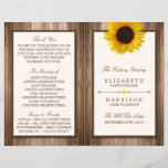 """Country Rustic Sunflower &amp; Brown Wood Wedding<br><div class=""""desc"""">These bi-fold programs are perfect for any couple planning a rustic country marriage. The design features a bright and beautiful sunflower on a rustic brown wood effect background. The simple design can be personalized to suit your special event and will be the perfect order of service for any country chic...</div>"""
