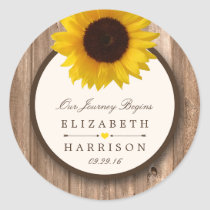 Country Rustic Sunflower & Brown Wood Wedding Classic Round Sticker