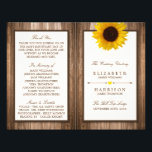 """Country Rustic Sunflower &amp; Brown Wood Wedding Flyer<br><div class=""""desc"""">These bi-fold programs are perfect for any couple planning a rustic country marriage. The design features a bright and beautiful sunflower on a rustic brown wood effect background. The simple design can be personalized to suit your special event and will be the perfect order of service for any country chic...</div>"""