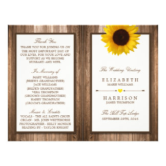 Country Rustic Sunflower & Brown Wood Wedding Flyer