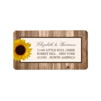 Country Rustic Sunflower & Brown Wood Wedding Label
