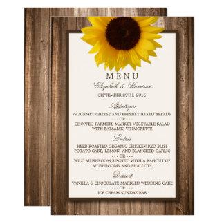 Country Rustic Sunflower & Brown Wood Wedding Menu Card