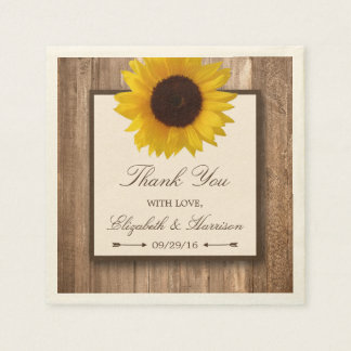Country Rustic Sunflower & Brown Wood Wedding Paper Napkin