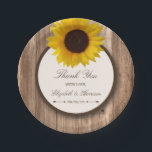 "Country Rustic Sunflower &amp; Brown Wood Wedding Paper Plate<br><div class=""desc"">These paper plates are perfect for any couple planning a rustic country marriage. The design features a bright and beautiful sunflower on a rustic brown wood effect background. The simple design can be personalized to suit your special event and will be the perfect accessory for any country chic themed party,...</div>"