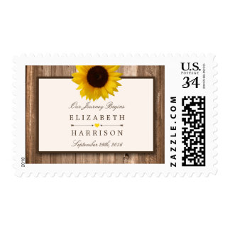 Country Rustic Sunflower & Brown Wood Wedding Postage